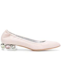 балетки на декорированном каблуке Casadei