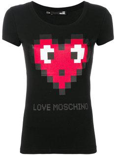футболка с пиксельным сердцем Love Moschino