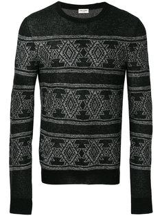 жаккардовый приталенный свитер  Saint Laurent