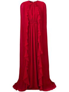 длинное платье  с рюшами Giambattista Valli