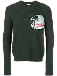 свитер в рубчик с заплаткой Saint Laurent