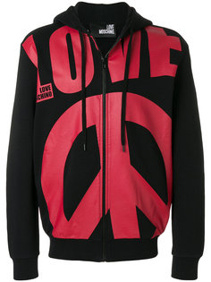 oversized slogan zipped front hoodie Love Moschino