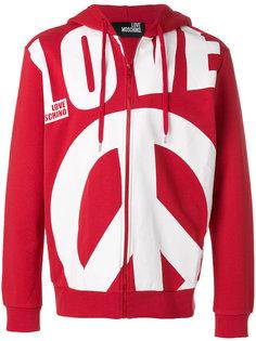 oversized slogan zipped front hoodie Love Moschino