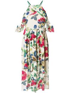 платье халтер средней длины с цветочным принтом  Semicouture
