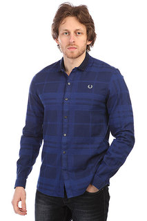 Рубашка в клетку Fred Perry Knitted Collar Check Navy