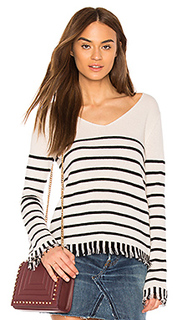Striped fringe v neck - White + Warren