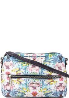 Кожаная сумка через плечо с цветочным принтом Curanni
