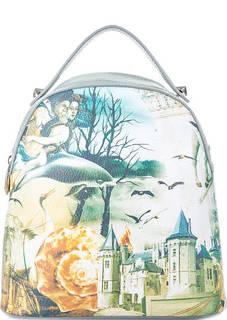 Кожаная сумка-рюкзак с пейзажным принтом Curanni