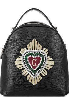 Кожаная сумка-рюкзак с вышивкой Curanni