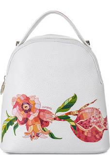 Кожаная сумка-рюкзак с цветочным принтом Curanni