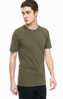 Хлопковая футболка цвета хаки United Colors of Benetton