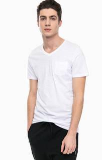 Однотонная хлопковая футболка с треугольным вырезом Jack & Jones