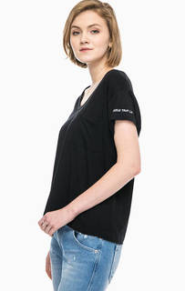 Хлопковая футболка с потертостями и карманом Replay