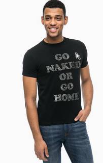 Хлопковая футболка с вышивкой и принтом Replay