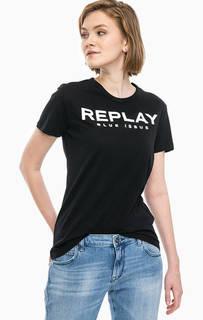 Черная футболка с логотипом бренда Replay
