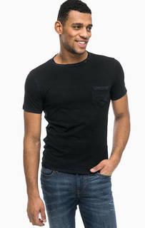 Черная хлопковая футболка с карманом Replay