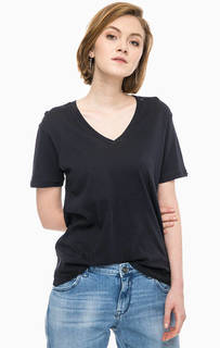 Хлопковая футболка с глубоким вырезом Replay