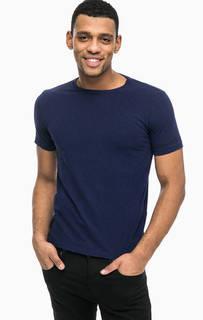 Синяя хлопковая футболка с принтом Replay