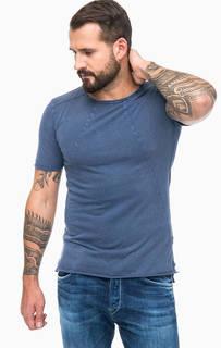 Синяя рваная футболка из вискозы Replay