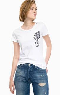Хлопковая футболка с потертостями и вышивкой Replay