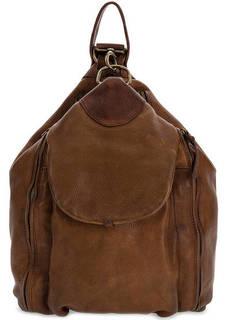 Вместительный кожаный рюкзак с тонкими лямками Bruno Rossi