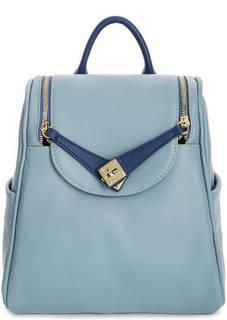 Синий рюкзак из зерненой кожи Bruno Rossi