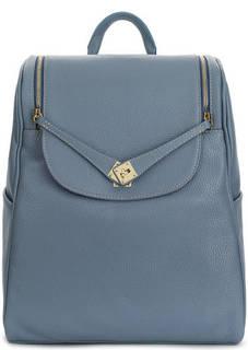 Вместительный синий рюкзак из зерненой кожи Bruno Rossi