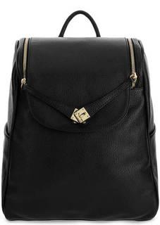 Вместительный черный рюкзак из зерненой кожи Bruno Rossi