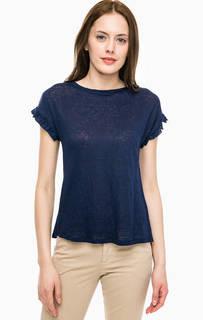 Синяя льняная футболка с короткими рукавами Kocca