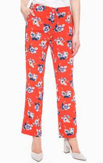 Зауженные оранжевые брюки с цветочным принтом Kocca
