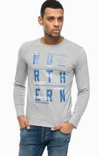 Серая футболка с контрастным принтом Tom Tailor