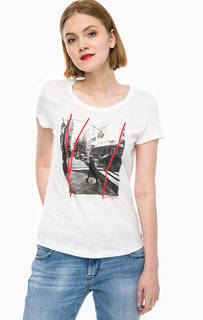 Белая футболка с принтом Tom Tailor Denim