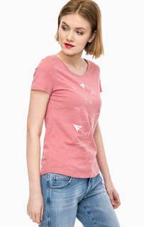 Розовая футболка из хлопка Tom Tailor Denim