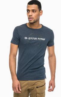 Синяя футболка с логотипом бренда G Star RAW