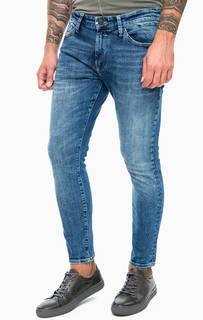 Синие джинсы скинни с декоративными заломами Mavi