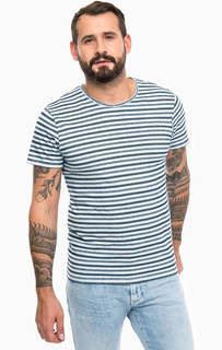 Хлопковая футболка синего цвета в полоску Mavi
