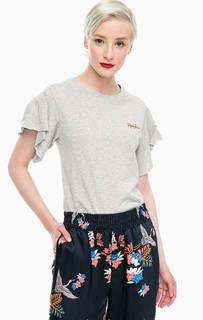 Хлопковая футболка с драпированными рукавами Pepe Jeans
