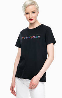 Черная хлопковая футболка с круглым вырезом Pepe Jeans