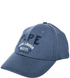 Бейсболка синего цвета из хлопка Pepe Jeans