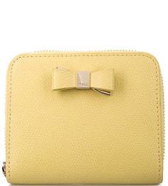 Желтый кожаный кошелек на молнии Furla