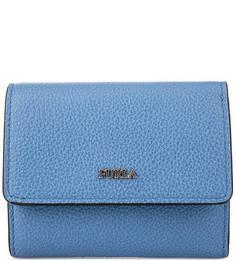Маленький синий кошелек из зерненой кожи Furla