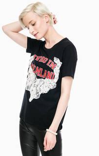 Черная футболка с декоративной отделкой Twinset Simona Barbieri