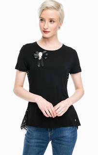 Черная футболка с кружевной спинкой Gaudi