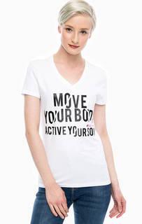 Хлопковая футболка с контрастным принтом Gaudi