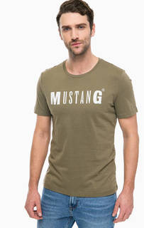 Футболка цвета хаки с логотипом бренда Mustang