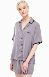 Атласный домашний комплект из блузы и коротких шорт Dkny