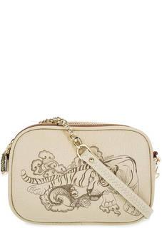 Маленькая кожаная сумка на молниях Curanni