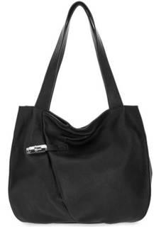 Черная кожаная сумка с длинными ручками Fiato
