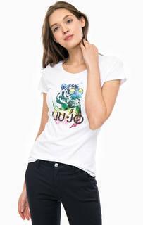 Белая футболка с контрастным принтом Liu Jo