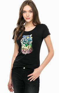 Черная футболка с контрастным принтом Liu Jo